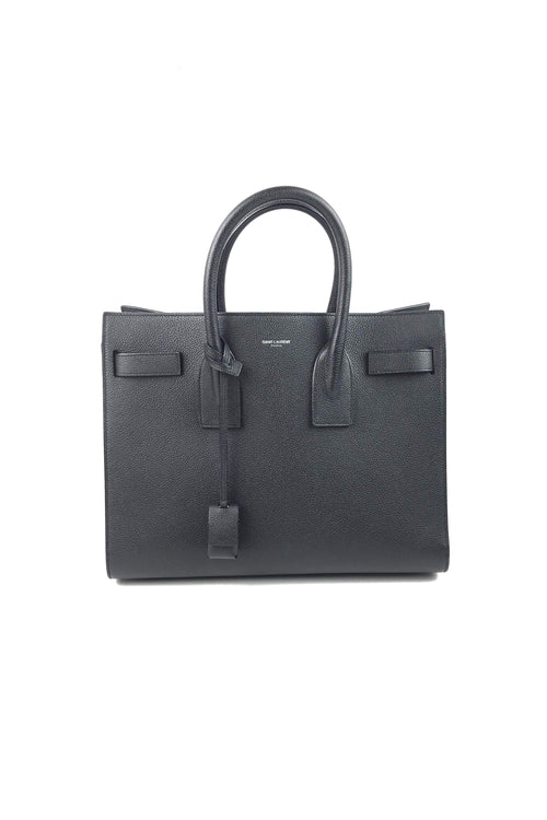 Black Grained Leather Small Sac De Jour