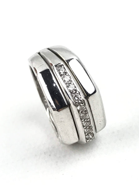 18K White Gold Royal Oak Stacked Ring W/ Diamonds - Haute Classics