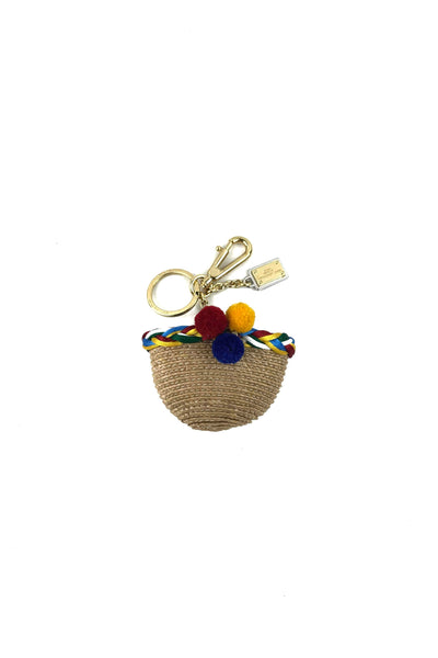 Raffia Straw Basket Bag Charm
