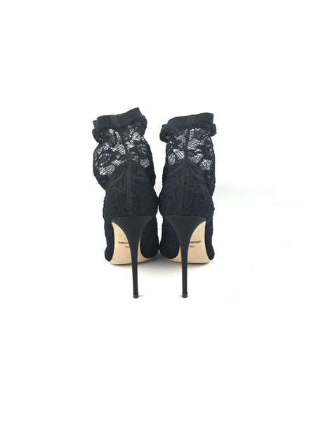 Black Lace Pointed-Toe Sock Pumps