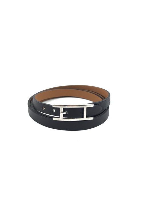 Black Leather Hapi 3 Triple Tour Bracelet W/ PHW - Haute Classics