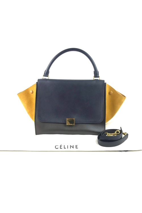 Tri Colour Black/Grey/Mustard Suede Medium Trapeze Bag
