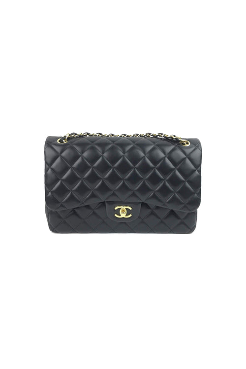 22a3083c2a24 Black Lambskin Quilted Double Flap Jumbo W  GHW