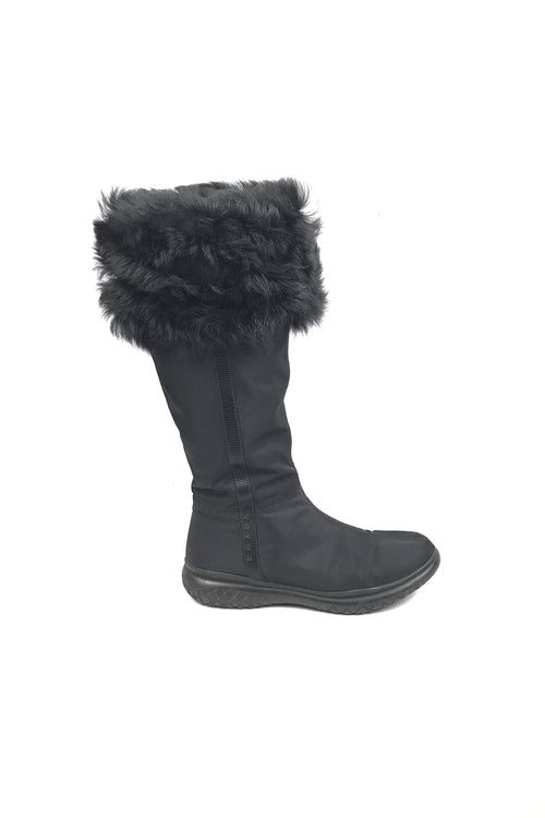 Black Nylon/Shearling Trim Knee High Boots - Haute Classics