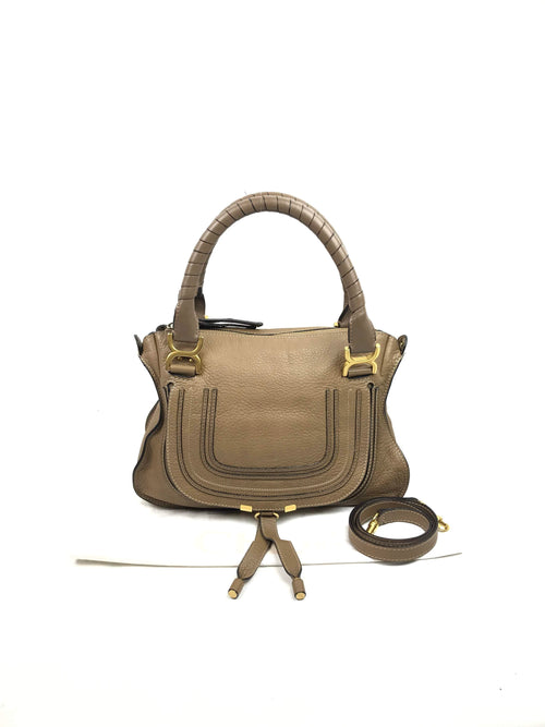 Nut Pebbled Leather Medium Marcie Satchel