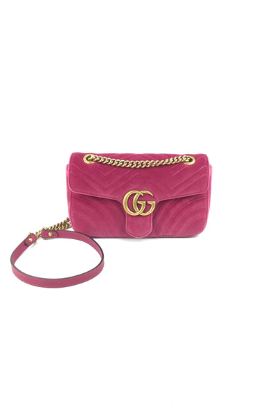 Hot Pink Quilted Velvet Small Marmont Shoulder Bag W/ AGHW