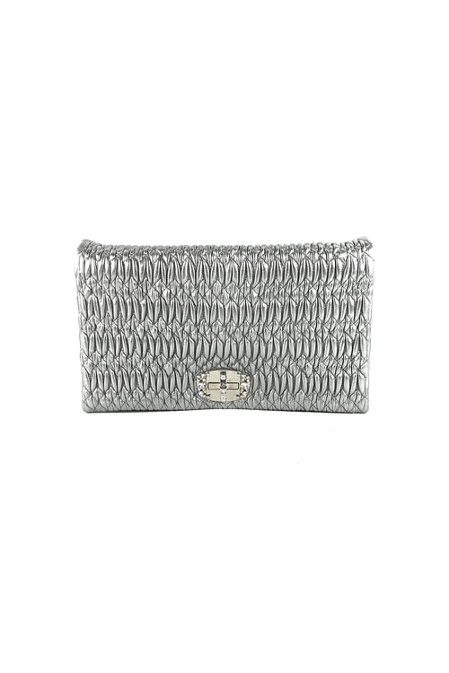 Silver Ruched Nappa Leather Cristal Large Foldover Clutch + Interchangeable Crystal & Braided Leather Straps
