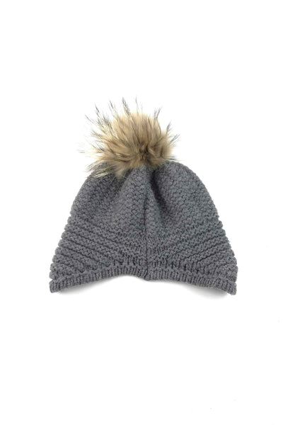 Grey Wool Blend Hat W/ Fur Pompom