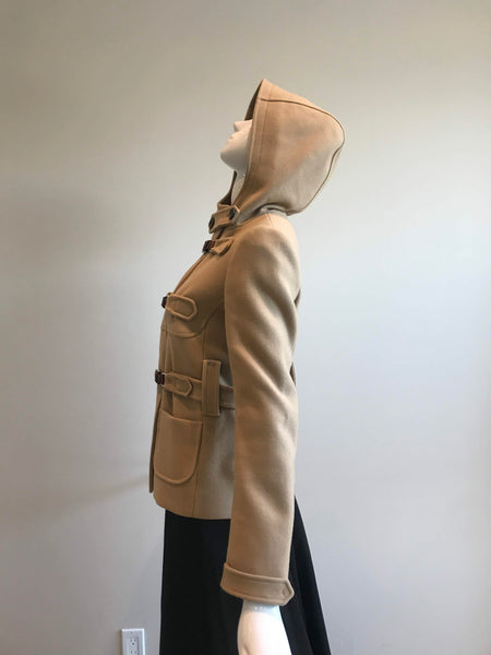 Camel Virgin Wool Hooded Jacket