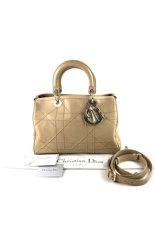 Beige Cannage Quilted Lambskin Granville Polochon Bag