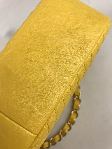 Yellow Washed Calfskin Chevron Rectangle Mini Flap Bag W/GHW