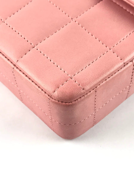 Rose Lambskin Quilted Chocolate Bar Flap Bag SHW