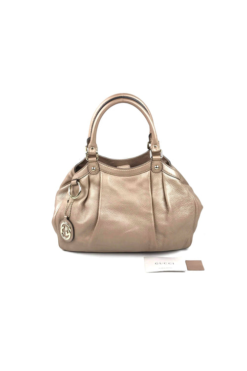 Metallic Rose Gold Pebbled Leather Medium Sukey Hobo Bag W/ SHW