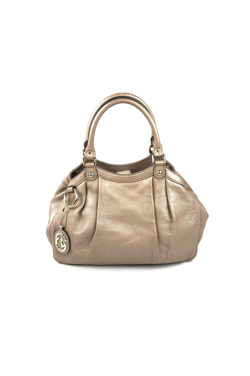 005a8de81464 Metallic Rose Gold Pebbled Leather Medium Sukey Hobo Bag W  SHW