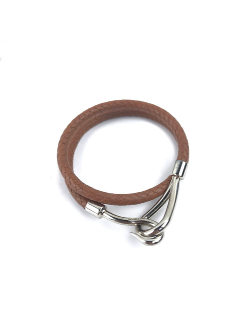 Brown Woven Leather Jumbo Double Wrap Bracelet W/SHW