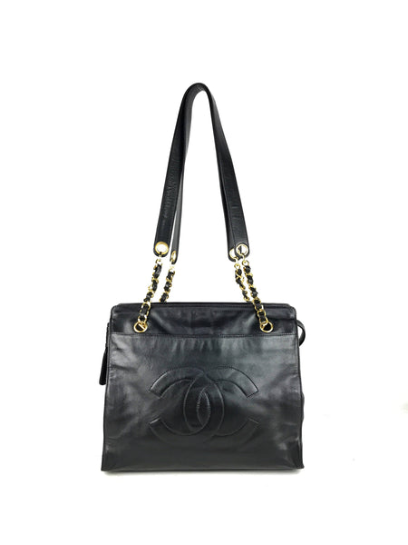 Vintage Black CC Shoulder Bag W/GHW