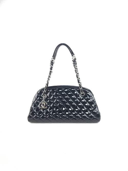 Black Patent Quilted Small Mademoiselle Bowling Bag W/SHW