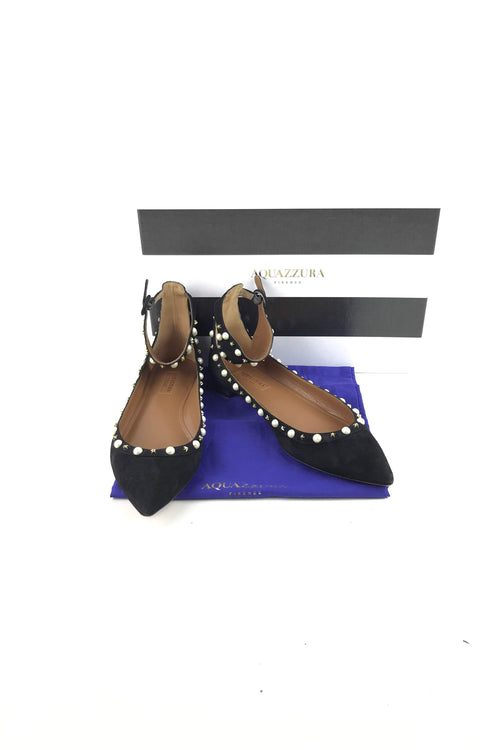 ca076c2bbd9 Black Suede W  Pearl Accents Harlow Flats