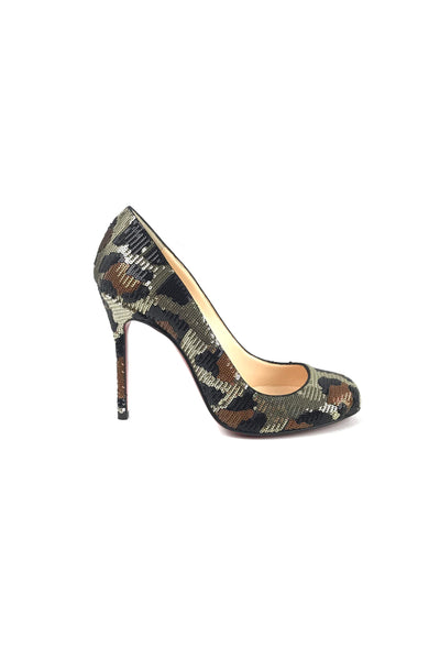 Leopard Paillettes Sequins Fifi 100 mm Pumps