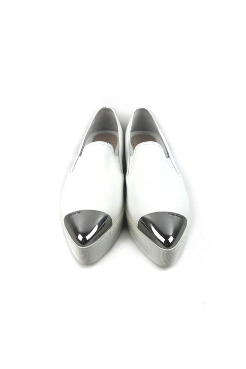 White Smooth Leather Platform Sneakers W/ Silver Metal Captoe
