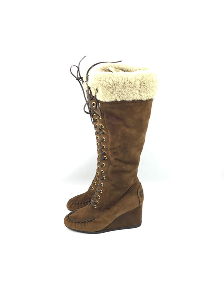 Brown Sued/Shearling Knee High Boots