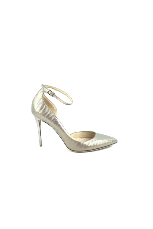Grey Holographic Ankle-Strap Pumps
