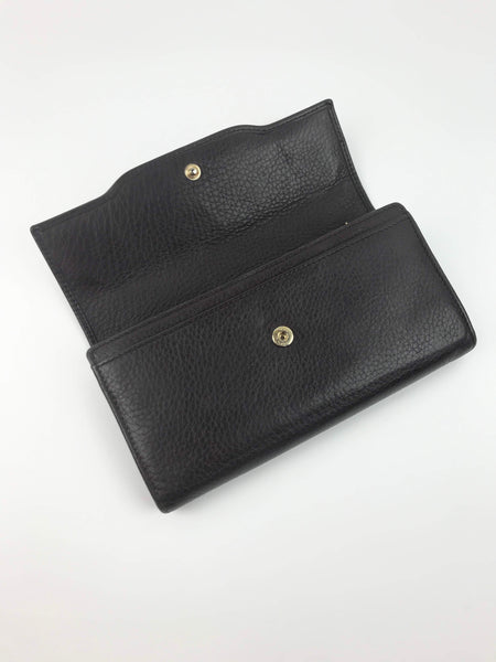 Brown Grained Leather Dressage Continental Wallet