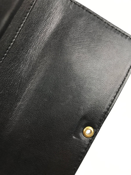Vintage Black Grained Leather Tri-Fold Wallet W/GHW