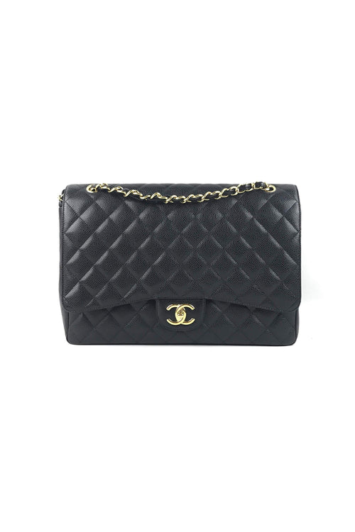 23d18ea58 Black Caviar Quilted Classic Double Flap Maxi Bag W/ GHW