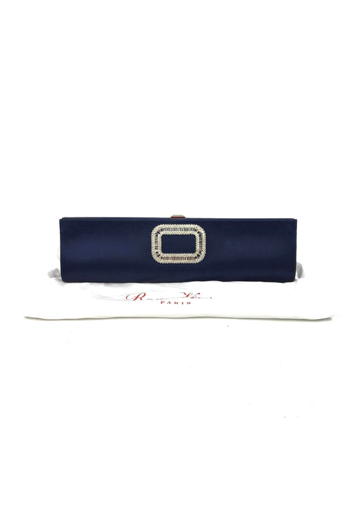 Navy Satin Strass-Buckle Pilgrim Clutch Bag