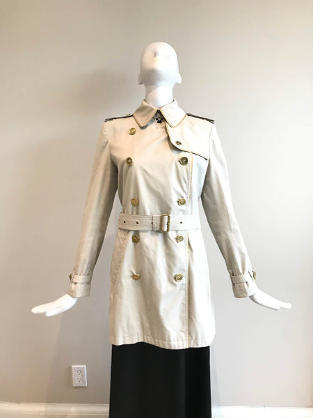 Beige Gold Trim Cotton Double Breasted Trench Coat