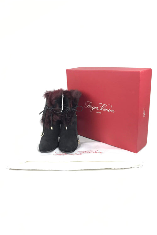 Black Suede/Burgundy Shearling Interior Heeled Ankle Boot