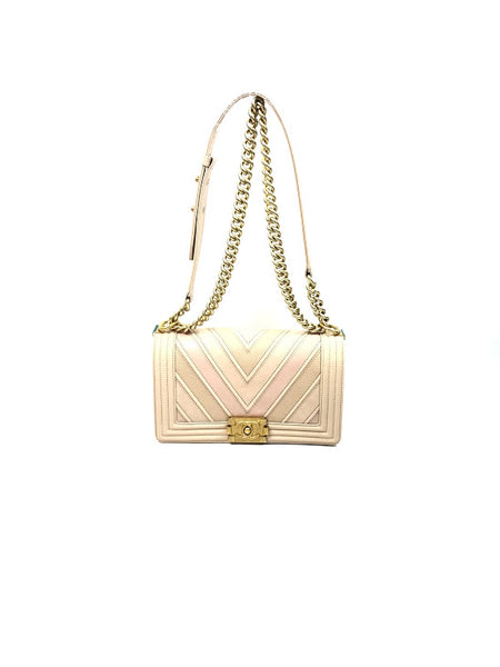 Nude Mix Leather Chevron Old Medium Boy Bag w/ GHW
