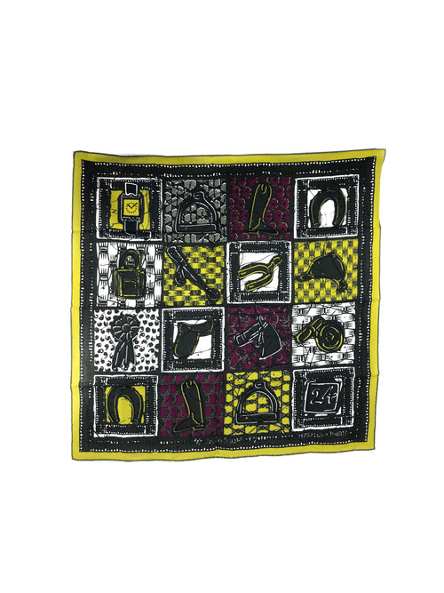 Green/Yellow/Fuschia Le Boubou H Cotton Scarf