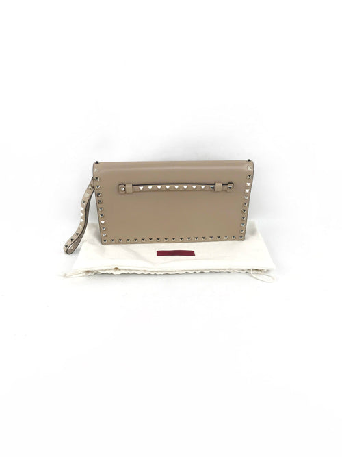Nude/Beige Small Grained Leather Rockstud Wristlet Flap Clutch