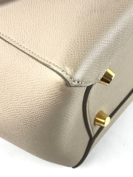 Beige Grained Calfskin Belt Mini Bag