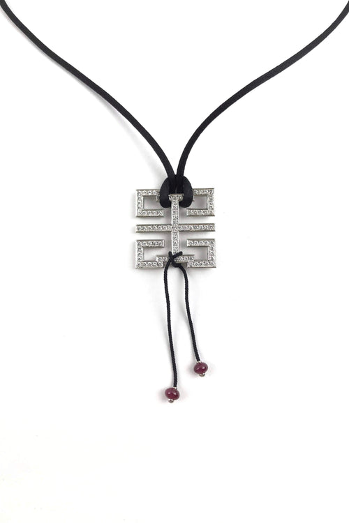 "18k White Gold & Diamond ""Le Baiser du Dragon"" Pendant On Silk Rope W/ 2 Ruby Beads"
