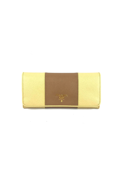Caramel/Gine Saffiano Leather Continental Wallet
