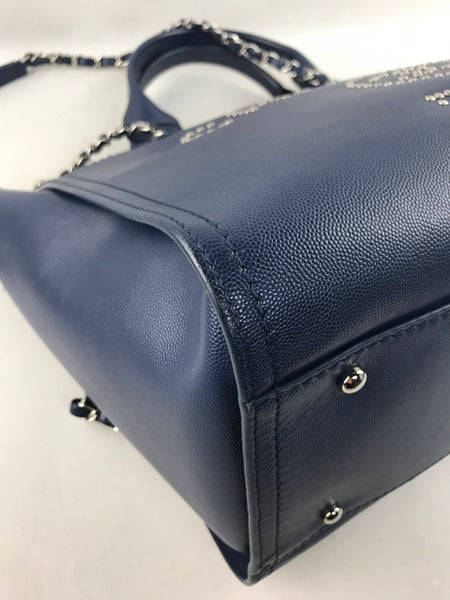 Navy Caviar Medium CC Studded Deauville Tote W/SHW