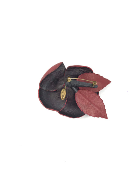 Red Leather Camellia Brooch W/ GHW