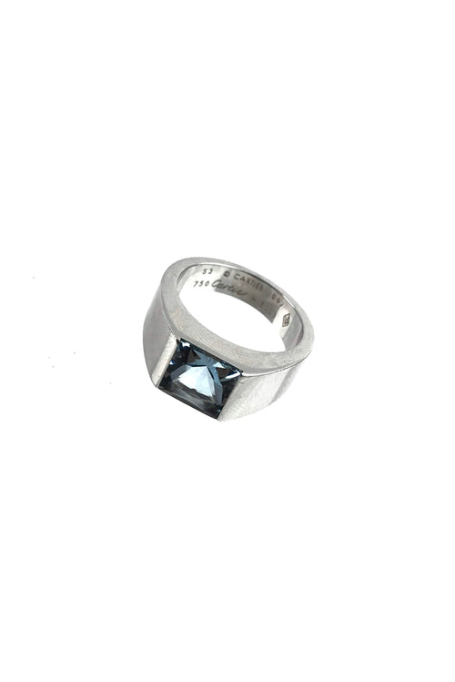 18k White Gold & Aquamarine Vintage Tank Ring