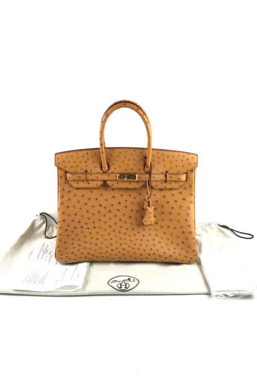 Saffron Ostrich Leather Birkin 35 W/ GHW