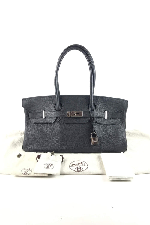 Black Fjord Leather JPG Shoulder Birkin 40 W/PHW - Haute Classics