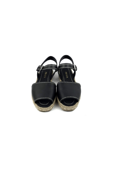 Black Leather Espadrille Sandals - Haute Classics