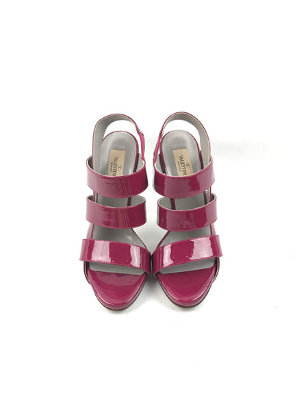 Patent Burgundy Cutout Sandals