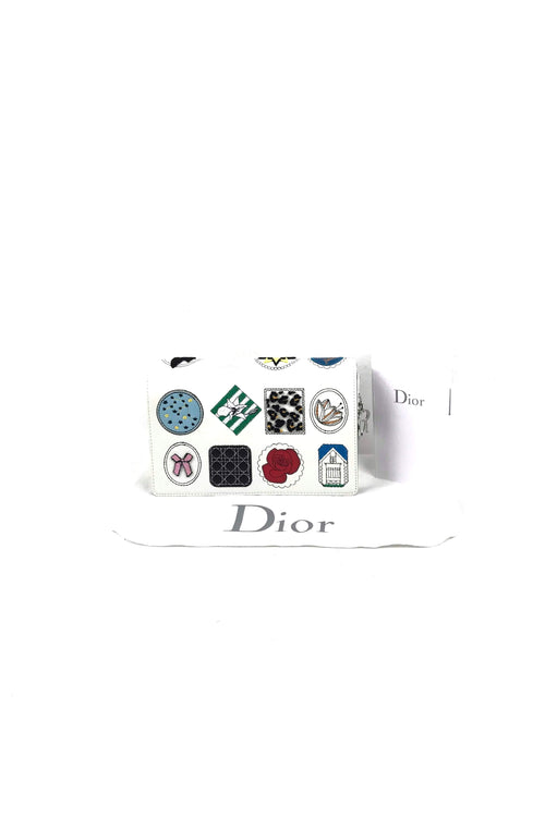 White Leather Patch Embellished Lady Dior WOC W/ SHW