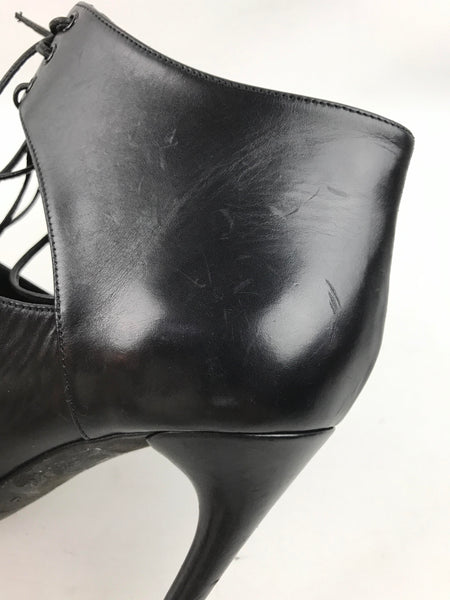 Black Smooth Leather Cut-Out Lace-Up Booties