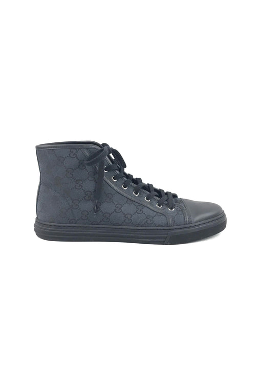 Black GG Supreme Canvas High-Top Men's Sneakers