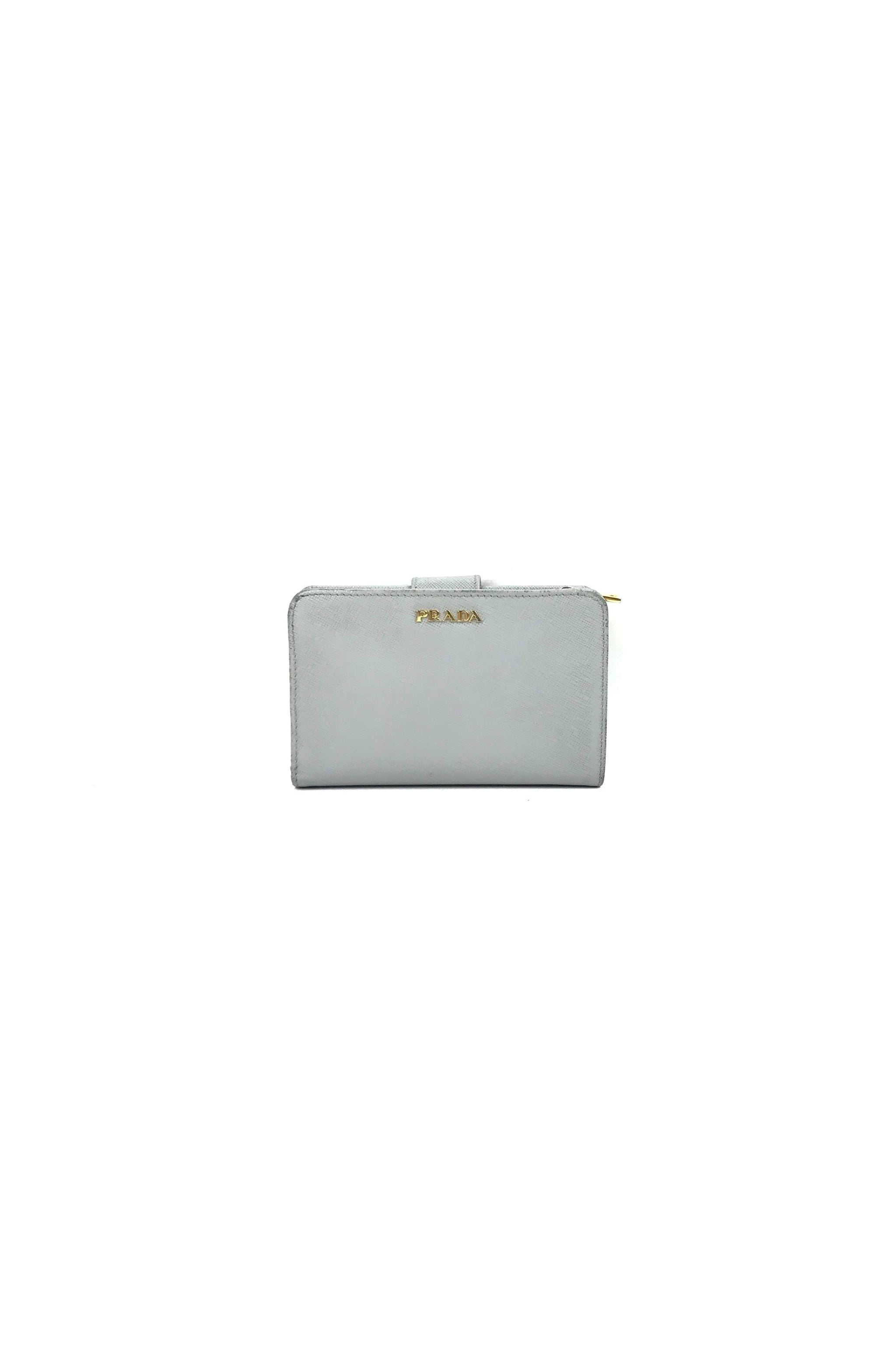 93ac07aaa34f Grey White Saffiano Leather French Purse Wallet W  GHW