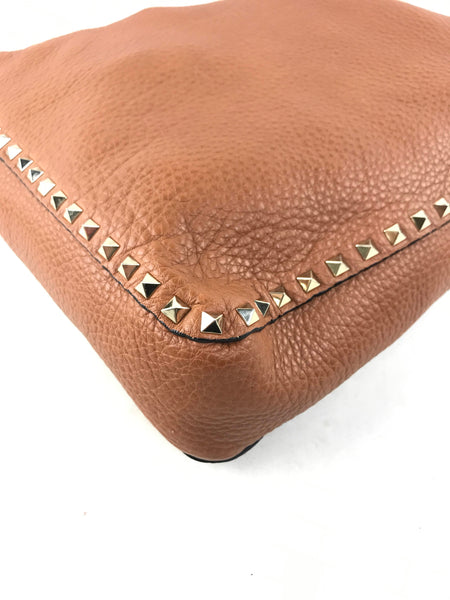 Small Saddle Brown Grained Leather Rockstud Messenger/Hobo Bag W/GHW
